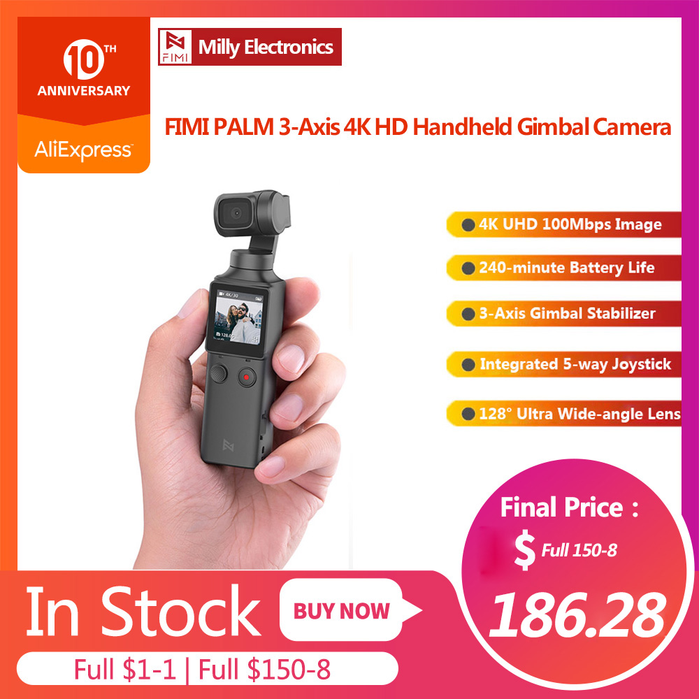 FIMI PALM 3-Axis 4K HD Handheld Gimbal Camera Stabilizer 128° Super Wide Angle Anti Shake Shoot Smart Track Built-in Bluetooth
