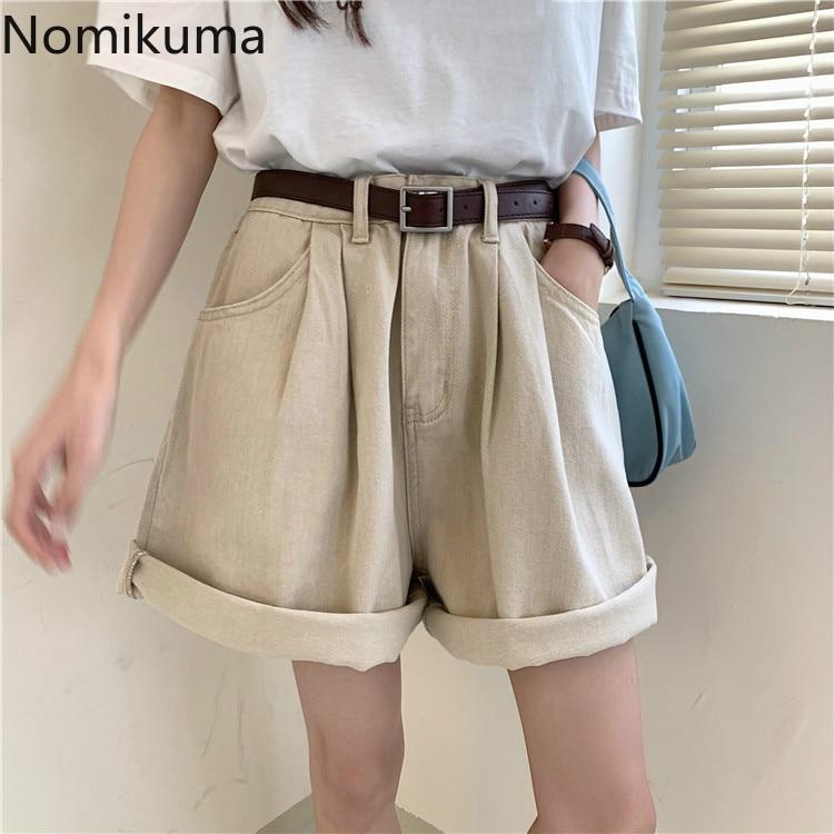 Nomikuma Fashion Washes Jeans Shorts 2020 Summer Korean Causal Wide Leg Demin Bottoms Solid Loose Short Feminimos 6A515