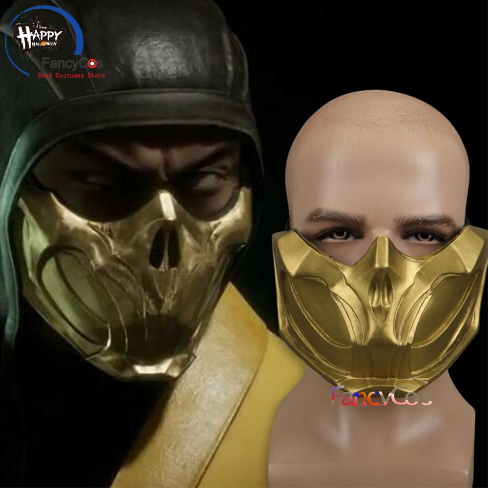 Game Mortal Kombat 11 Scorpion Mask Full Scorpion Man Mk11 Half Face Cosplay Mask Halloween Props Gifts Mask High Quality Boys Costume Accessories Aliexpress