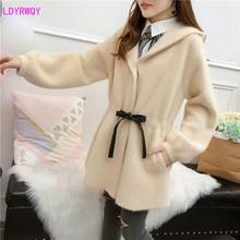 2019 autumn and winter new women's Korean fashion hooded collar tie waist lantern long sleeve casual wild woolen coat