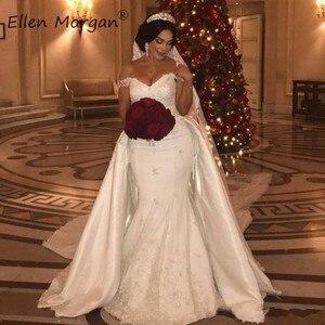 Image 1 - Off Shoulder Lace Mermaid Wedding Dresses Detachable Skirts Court Train Satin Elegant for Bridal Long Vestido De Novia 2020