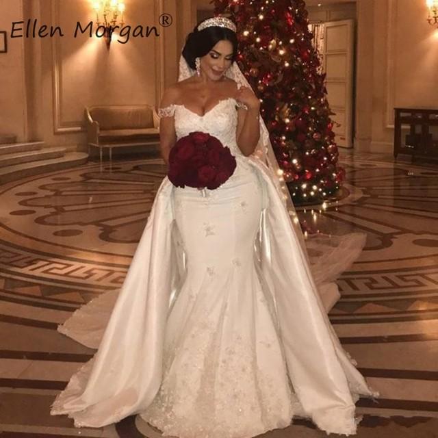 오프 숄더 레이스 인어 웨딩 드레스 분리형 스커트 코트 트레인 새틴 우아한 신부 긴 Vestido 드 Novia 2020