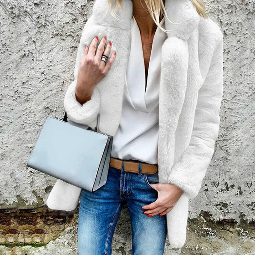Laamei 캐주얼 롱 가짜 모피 가디건 코트 두꺼운 따뜻한 겨울 털이 긴 소매 모피 자켓 여성 아웃웨어 슬림 피트 코트