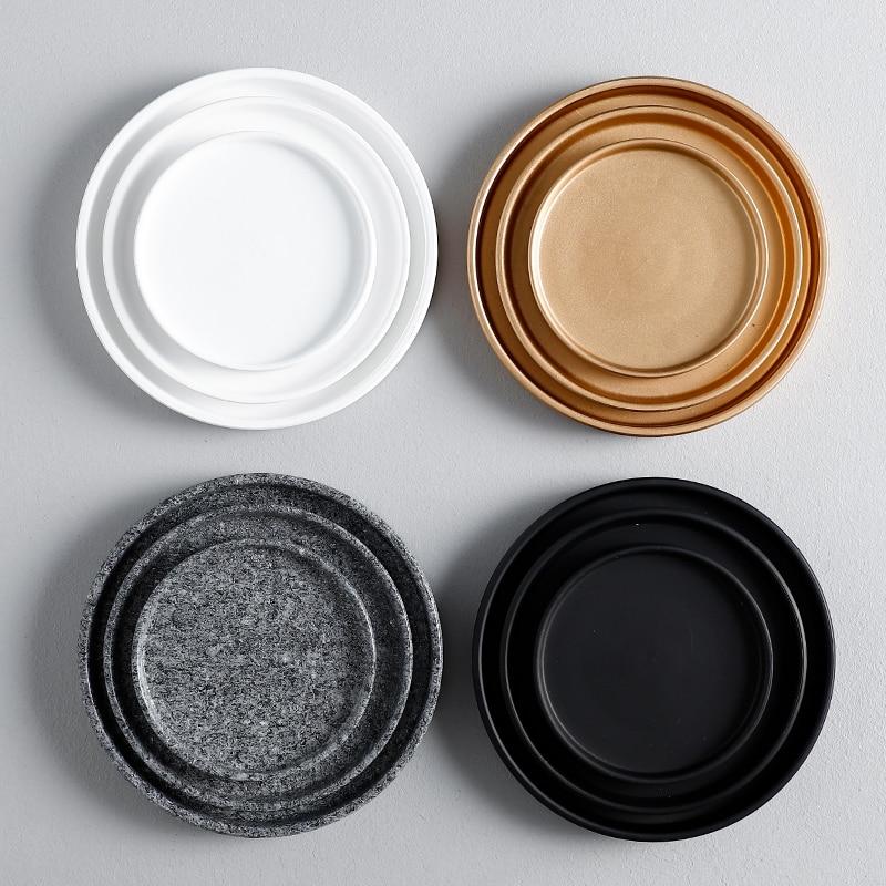 Поднос для цветочной вазы, поднос для кастрюль, керамический поднос для еды, золотое, черное, белое украшение-0
