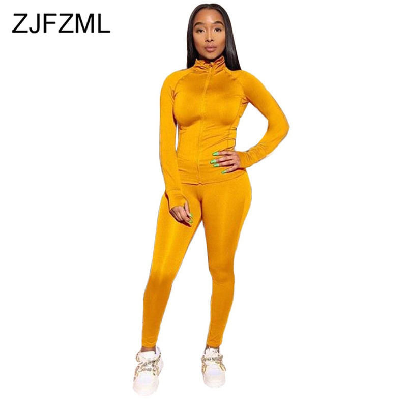 Plus Size Two Piece Set Tracksuit Women Fall Winter Clothes Full Sleeve Zipper Up Top+Skinny Legging 2 Piece Outfit Matching Set