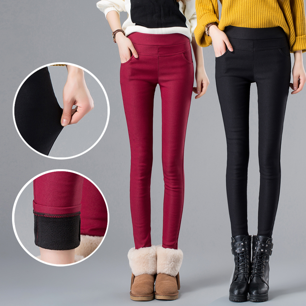 2019 women   pants     capris   pencil   pants   fleece warm casual female trousers elastic Autumn Winter velvet thick leggings dropshipping