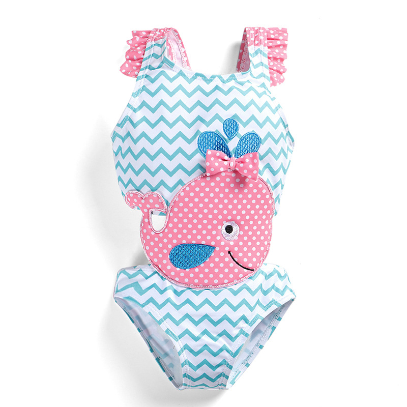 Micro For GIRL'S Swimsuit Summer New Products One-piece Swimming Suit Big Boy Cute Cartoon Swimwear Baby Swim Bathing Suit