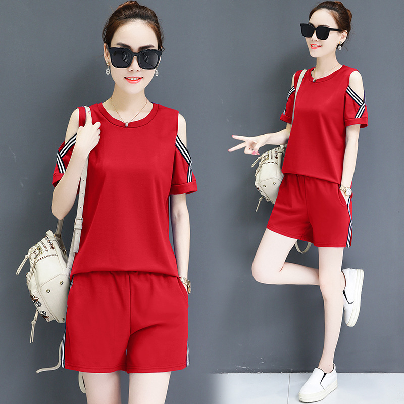 Off-Shoulder Short Sleeve T-shirt Shorts Two-Piece Set Exposed Shoulder Short Sleeve Shorts Casual Running Two-Piece Set