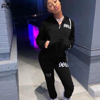 FQLWL уличная одежда, осенний спортивный костюм, комплект из двух предметов, Женская неоновая одежда, комплекты с капюшоном на молнии, женский спортивный костюм для фитнеса