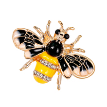 Alloy Enamel Honey Bee Insect Brooch Pin Lovely Rhinestone Clothing Accessories pulatu personalized enamel insect brooch