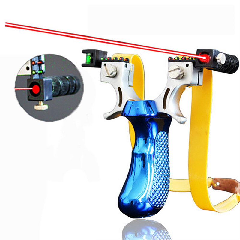 Slingshot With Laser Light Sight Outdoor Shooting Hunting Slingshot With Flat Rubber Band Powerful Sling Shot