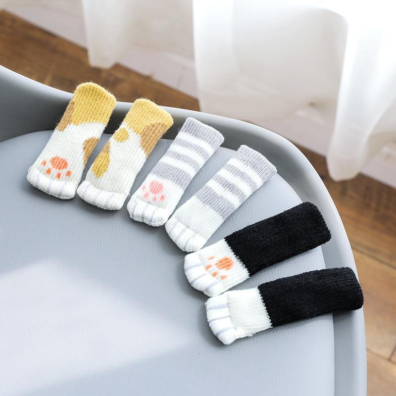 4pcs Chair Leg Socks Cloth Floor Protection Knitting Wool Socks Anti-slip Table Legs Furniture Feet Sleeve Cover Cat Scratching