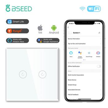 BSEED 1 2 3 sposób WIFI przełączniki ścienne inteligentny dotykowy przełączniki światła szkło LED przełączniki szkło Google Alexa App przełączniki czujnika neutralny tanie i dobre opinie CN (pochodzenie) ROHS Need Neutral Wire PRZEŁĄCZNIKI Sterowanie aplikacją