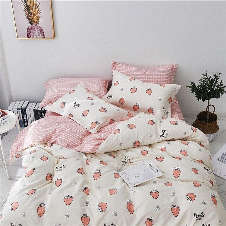 Claroom mignon rose fraise linge de lit roi reine coton ensemble de literie housse de couette ensemble drap de lit housse de couette DS52 #
