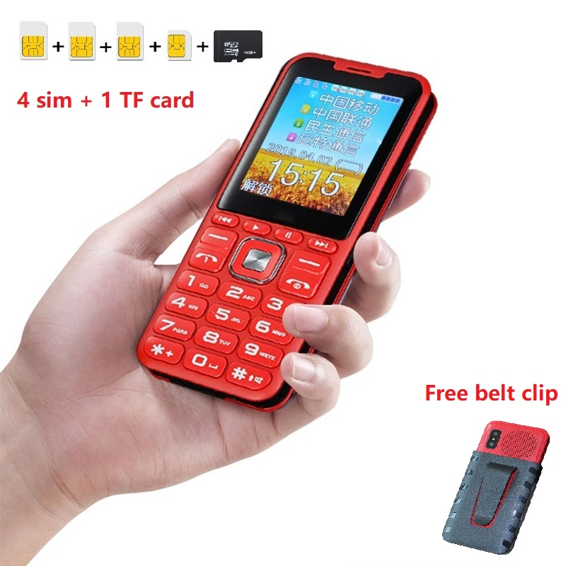 Unlock 2G GSM Quad 4 Sim Quad Standby Mobile Phone Magic Voice Changer Power Bank Big Speaker Sound 2.4 Display Dual Flashlight