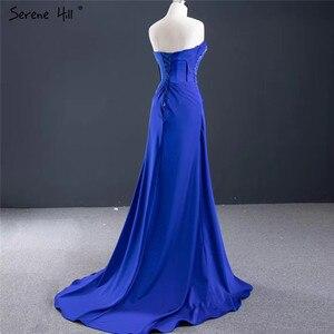 Image 4 - Royal Blue Srtapless Sexy A Line Evening Dresses 2020 High end Satin Beading Sleeveless Formal Dress Serene Hill HM67087