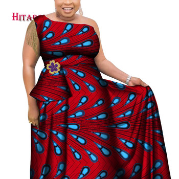 2020 New Dashiki African Print Dresses Bazin One-shoulder Party Dress Vestidos Plus Size African Dresses for Women WY6930