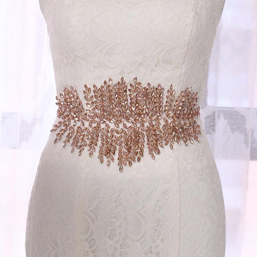 Купить с кэшбэком TRiXY SH238-P Exquisite Pink Bride Belt Sparkly Belts for Women Rhinestone Belts Sparkly Bridal Belts for Wedding Dress Belt