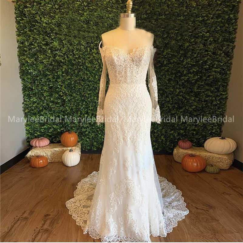 Off Shoulder Long Sleeves Wedding Dress Mermaid Style White Ivory Appliques Bridal Dress Zipper Back Chapel Train Suknia Slubna