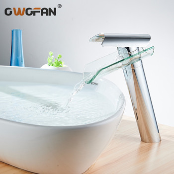 Modern Waterfall Spout Glass Basin Faucet Bathroom High Chrome Finish Sink Faucets Single Handle Mixer Water Tap Torneira 88302 bathroom tall washbasin faucet chrome antique brass and oil rubbed bronze faucets waterfall sink tap torneira banheiro