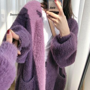 Autumn Winter New Solid Color Mink-like Cardigan for Women Womens Korean-Style Loose Oversized Sweater Korean