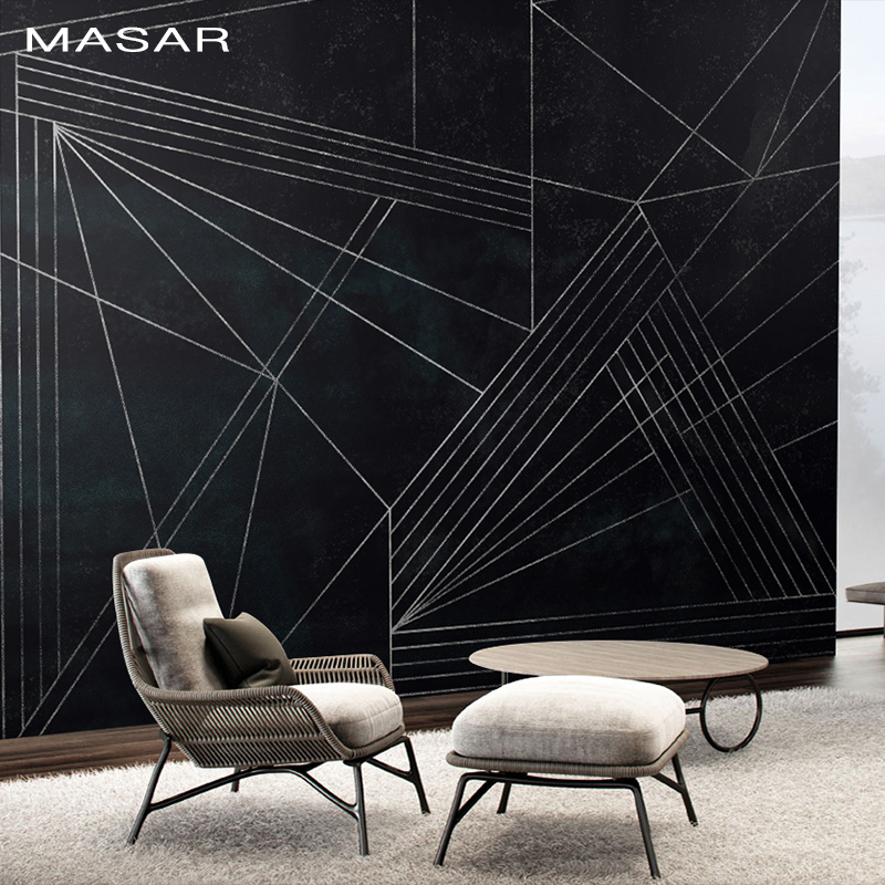 MASAR Simple Black And White Wall Paintings Imitation Pencil Strokes Plain Color Wallpaper Logo Background Wall Wallpaper Line
