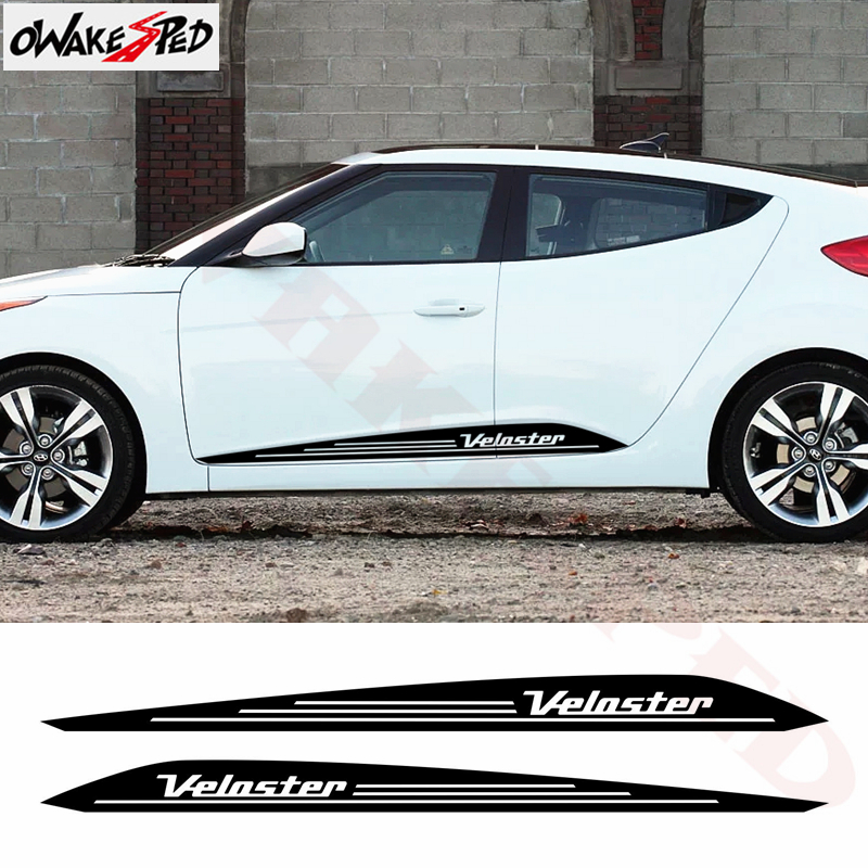 2pcs Car Door Side Skirt Stripes Sticker For-Hyundai Veloster 2011-2017 Auto Body Decor Stickers Racing Styling Vinyl Decal