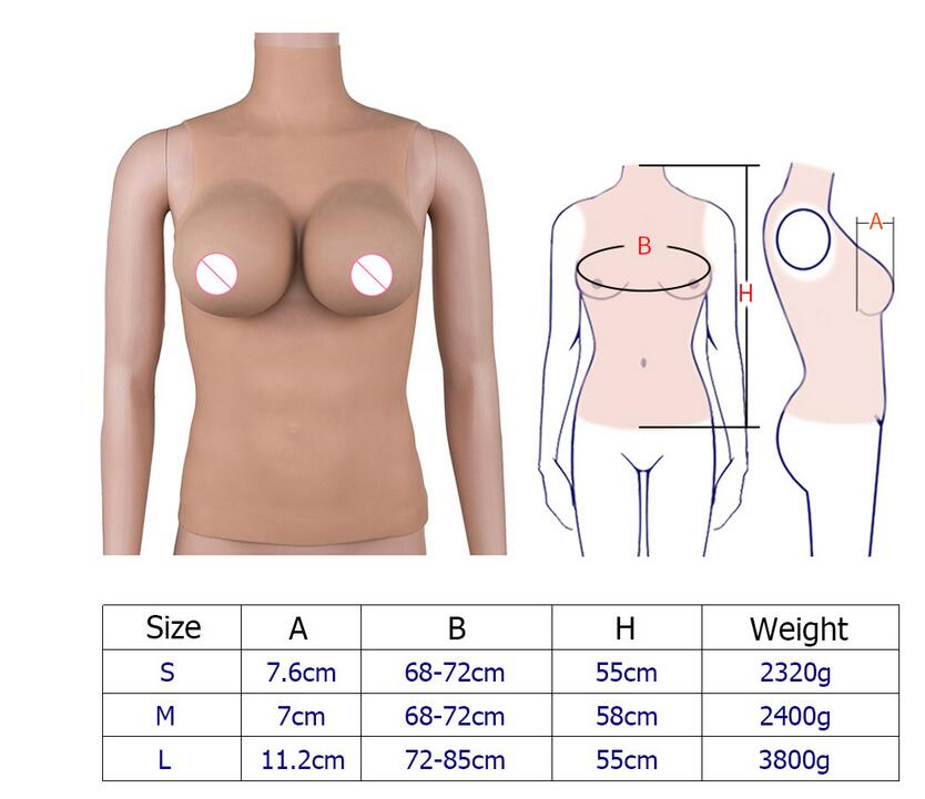 2019 New Fullbody Integral Forming Silicone Suit CD TG Drag Queen I Cup Boobs Size S/M/L  Bras  Sexy  Hot Sale