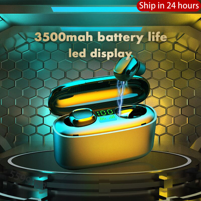 3500mah LED Bluetooth אלחוטי אוזניות אוזניות TWS מגע בקרת אוזניות ספורט אוזניות רעש לבטל עמיד למים אוזניות
