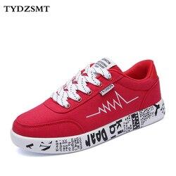 TYDZSMT 2020 mode femmes vulcanisé chaussures baskets dames à lacets chaussures décontractées respirant marche toile chaussures Graffiti plat
