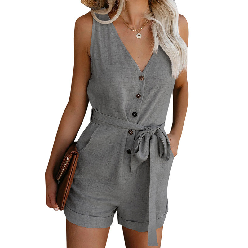 Women Playsuit 2020 Summer V Neck Sleeveless Button Belt Bow Casual Jumpsuit Solid Plus Size Romper Elegant Tunic Short Overalls