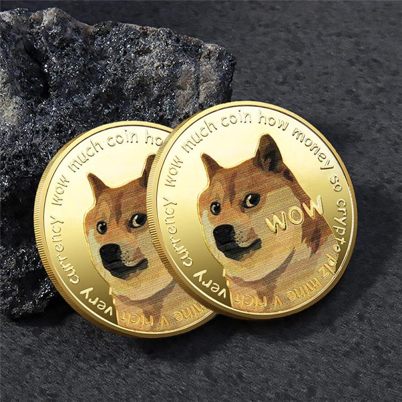 1 Piece Gold/Silver Plated Ethereum Ripple Bitcoin Dogecoin Binance Digital Currency Dog Year Commemorative Coins Ornaments 5