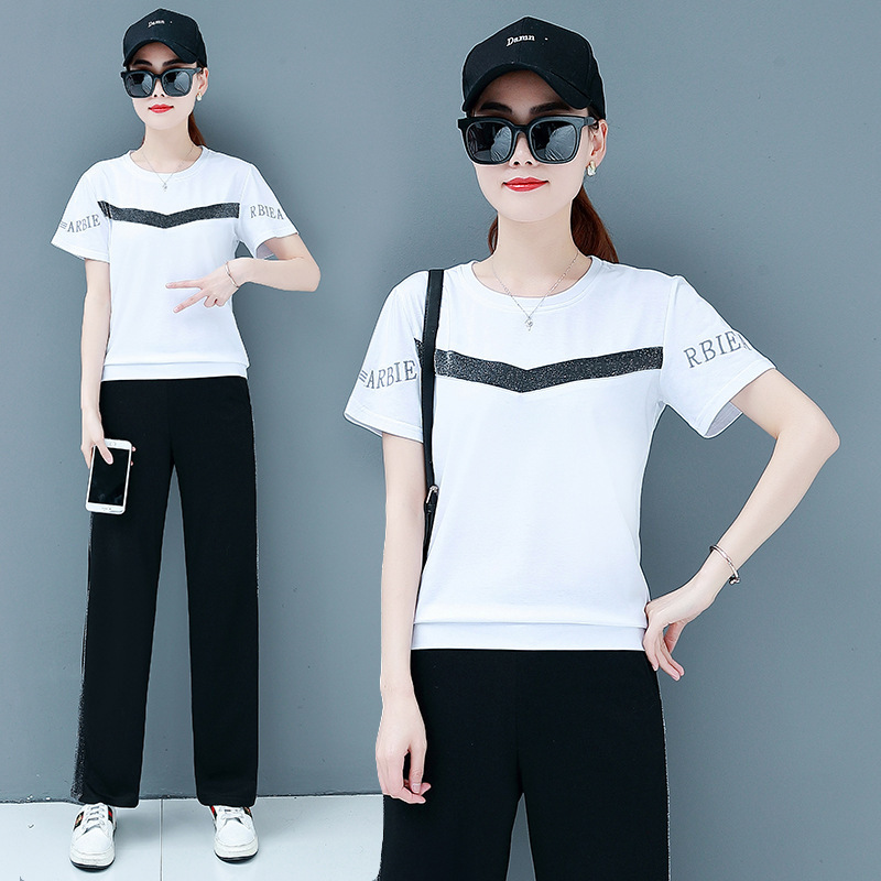 Sports WOMEN'S Suit Summer 2019 New Style Large Size Loose-Fit Korean-style Fashion Trousers Short Sleeve Thin Casual Two-Piece