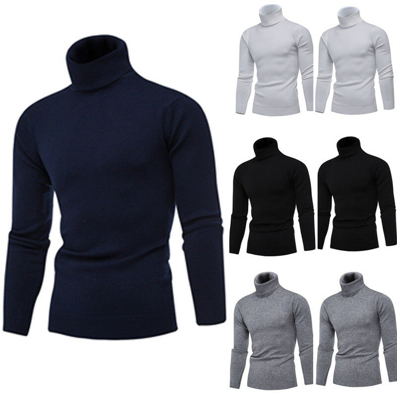 New Arrival Mens Casual  Roll Funnel Turtle Neck Thin Base Layer Top Golf Weater Jumper Basis Autumn Pullover Top M-2XL