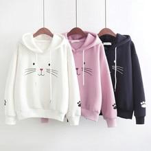 2019 sudadera de manga larga con estampado de gato para mujeres lindas sudadera Casual suelta Sudadera con capucha camisetas de otoño e invierno Streewear