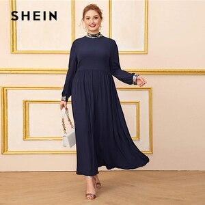 Image 4 - Шеин размера плюс темно синее платье с контрастной отделкой пайетками для женщин, с длинным рукавом, осень, высокая талия, ТРАПЕЦИЕВИДНОЕ элегантное платье макси