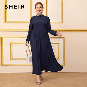 Image 4 - SHEIN Plus rozmiar granatowy Mock Neck kontrast cekinowe wykończenia sukienka kobiety z długim rękawem jesień wysokiej talii linia eleganckie sukienki Maxi