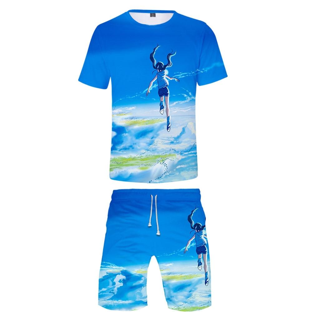 2019 Weathering With You Two Piece Set Tshirt And Shorts Harajuku Men T Shirt Streetwear Harajuku Short Sleeve Plus Size