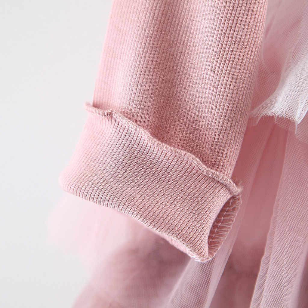 ילדים תינוקת בגדים ארוך שרוול כותנה טול שמלת Vestidos סתיו חתונה מסיבת יום הולדת טוטו שמלות שכבות חלוק Fille
