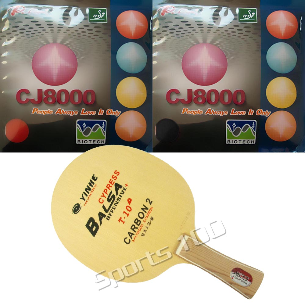 Pro Combo Racket Yinhe T-10+ Table Tennis blade with 2 Pieces <font><b>Palio</b></font> <font><b>CJ8000</b></font> (<font><b>BIOTECH</b></font>) PingPong Rubber with Sponge image