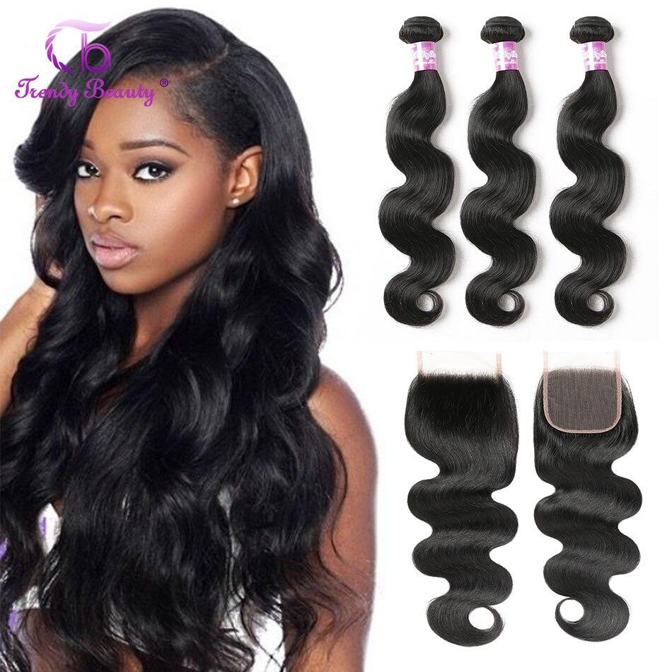 Brazilian Body Wave Hair 3 Bundles With 1 Pcs Closure Human Hair Extensions Color 1B Non-remy Hair Weave Bundles Trendy Beauty