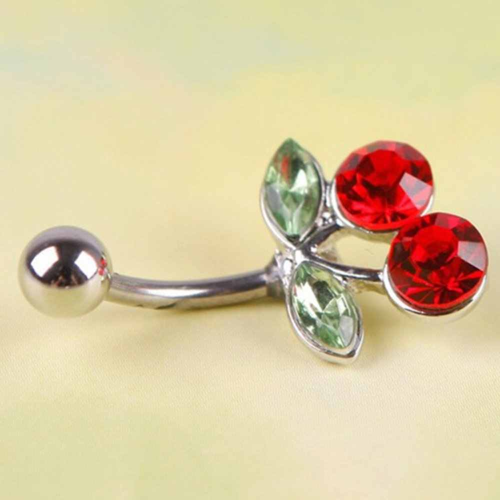 Baru Rhinestone Merah Cherry Pusar Barbel Cincin 1Pc