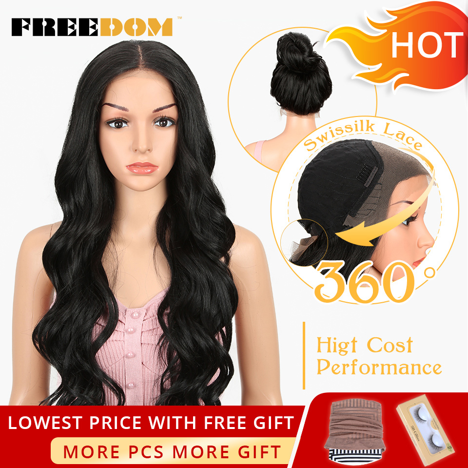 FREEDOM Free Parting Lace Front Synthetic Wigs 360 Lace Frontal Wig Blond Ombre Color Ponytail Wigs For Black Women Supreme Hair