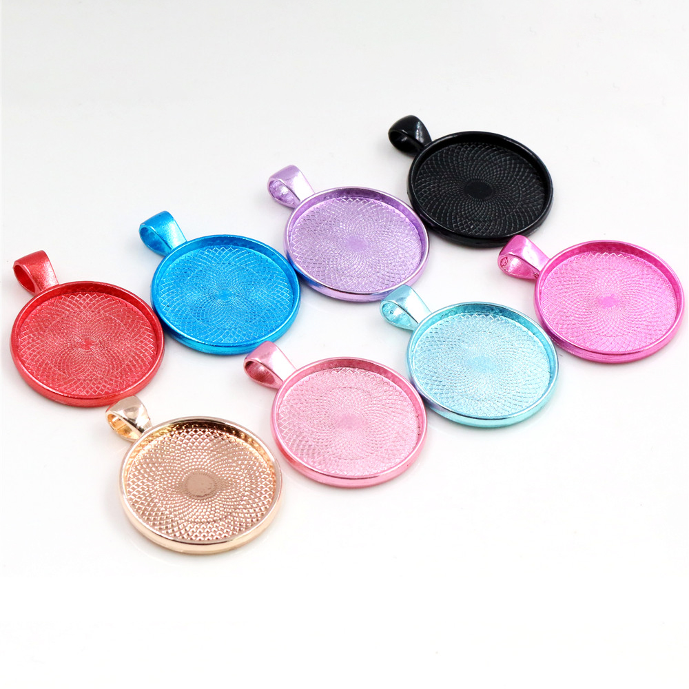 New Colors High Quality 5pcs/lot 25mm Inner Size 8 Colors Plated Cabochon Base Setting Charms Pendant Tray For Necklace