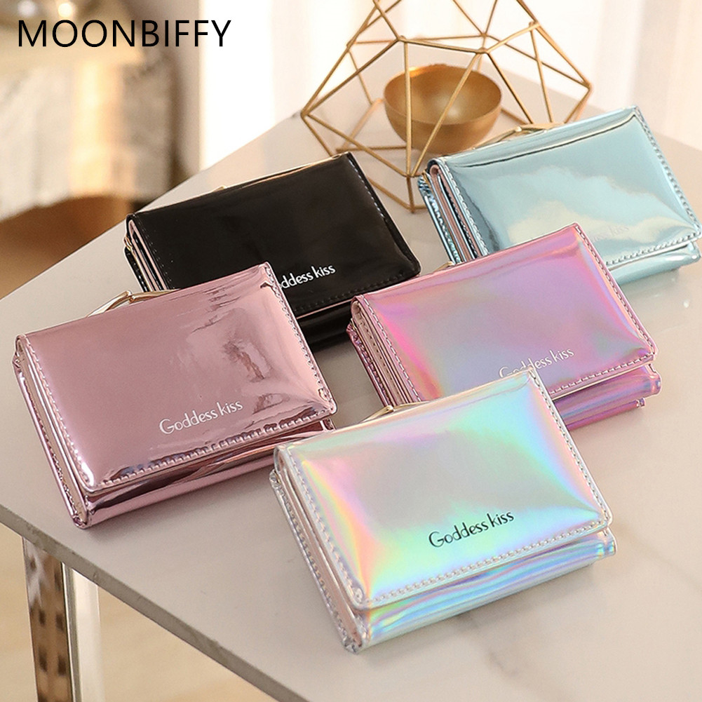 MOONBIFFY Stylish Women Luxury Laser Mini Wallet Card Holder Clutch Coin Purse Leather Handbag Purse Bag