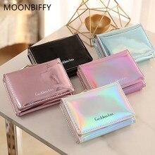 MOONBIFFY Stylish Women Luxury Laser Mini Wallet Card Holder Clutch Coin Purse