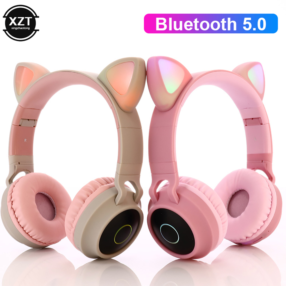 LED Cat Ear Headphones Bluetooth 5.0 Noise Cancelling  Adults Kids girl Headset Support TF Card FM Radio With Mic Wireless+Wired