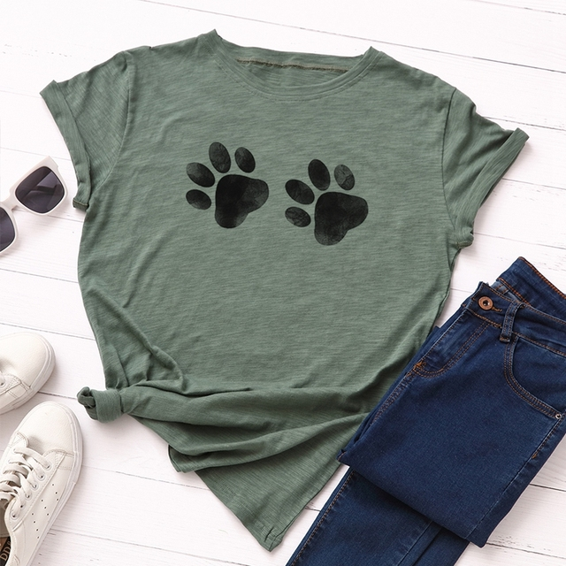 Dog Paw Printed T Shirt for Women