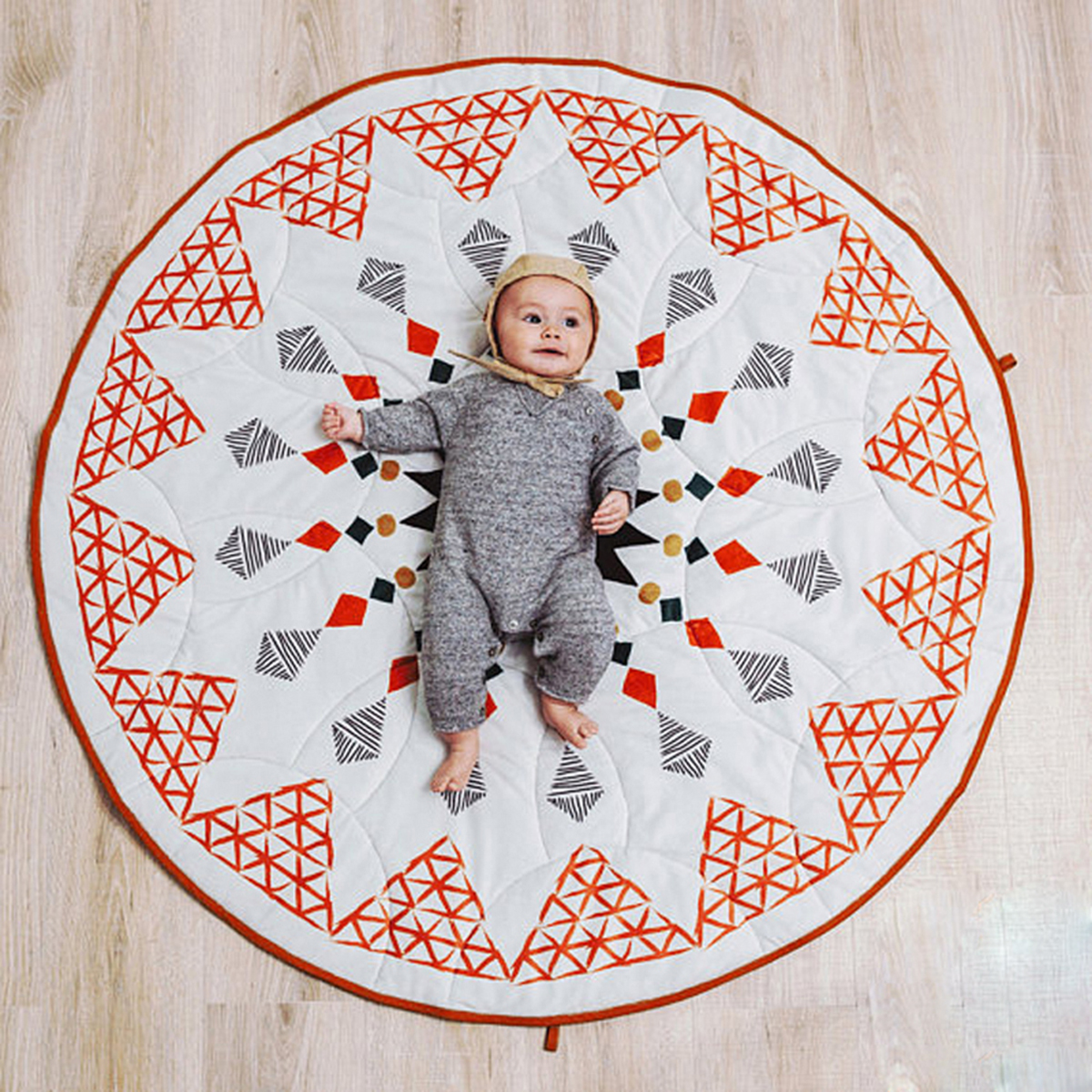 90cm Kids Play Mat Geometric Pattern Baby Crawling Pad Moroccan Style Floor Mat