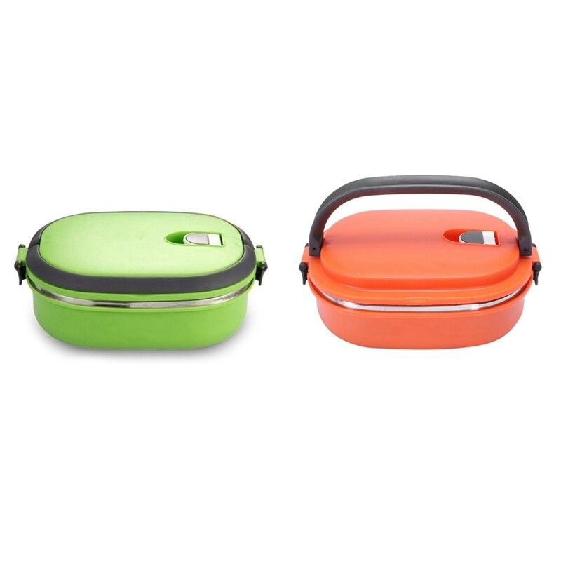 Ev ve Bahçe'ten Öğle Yemeği Kutuları'de 2 adet yüksek kaliteli yalıtımlı yemek kabı gıda saklama kabı termo termal yeşil turuncu title=